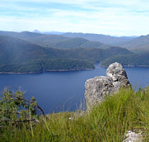 Looking down at Lake Barrington, Sheffield, TASMANIA