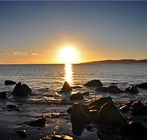 Sunset over Hawley Beach, Tasmania